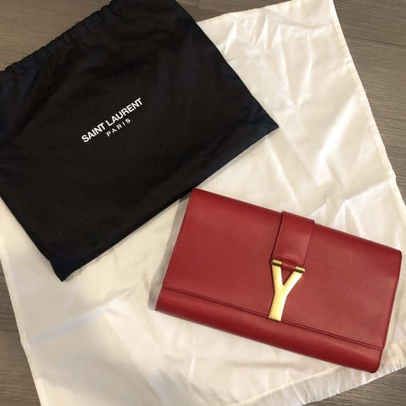 most reliable 50-70%off select for latest YSL Classic Red Leather Y Logo Clutch Bag